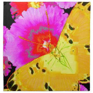 PAPILLONS de JAUNE d'ART MODERNE et cadeau ROSE Serviettes En Tissus