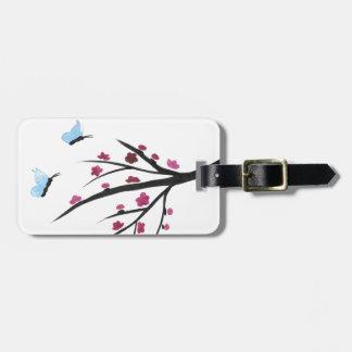Papillons et fleurs étiquettes bagages