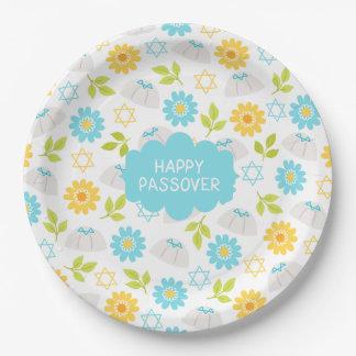 Pâque florale Sedar de printemps Assiettes En Papier