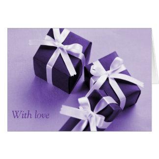 Paquets pourpres carte de vœux