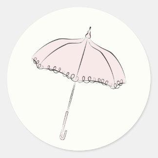 Parasol rose sticker rond