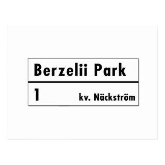 Parc de Berzelii, Stockholm, plaque de rue Carte Postale