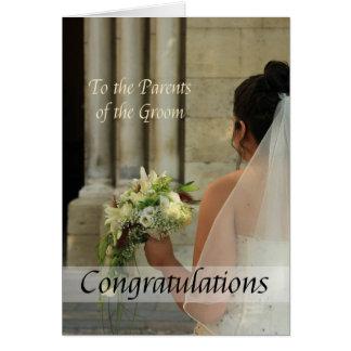 Parents des félicitations de mariage de marié carte de vœux