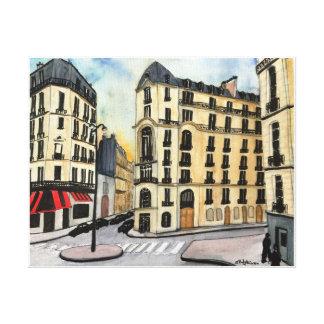 Paris - aquarelle, copie enveloppée de toile
