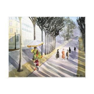 Paris, - aquarelle, copie enveloppée de toile