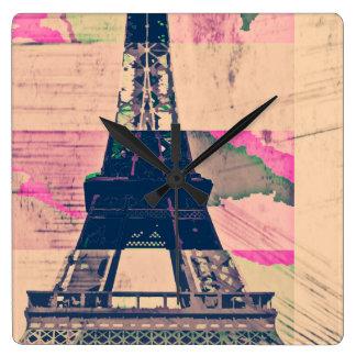 Paris Eiffel Horloge Carrée