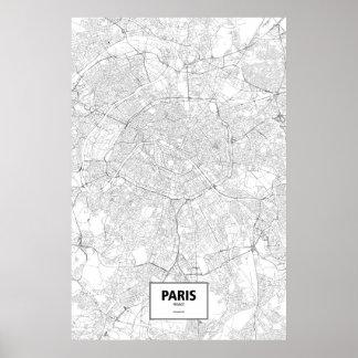 Paris, France (noir sur le blanc) Poster