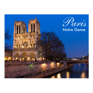 Paris - Notre Dame à la carte postale de nuit