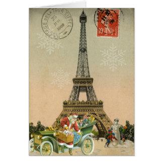 Paris Père Noël et carte de Noël de bonhomme de