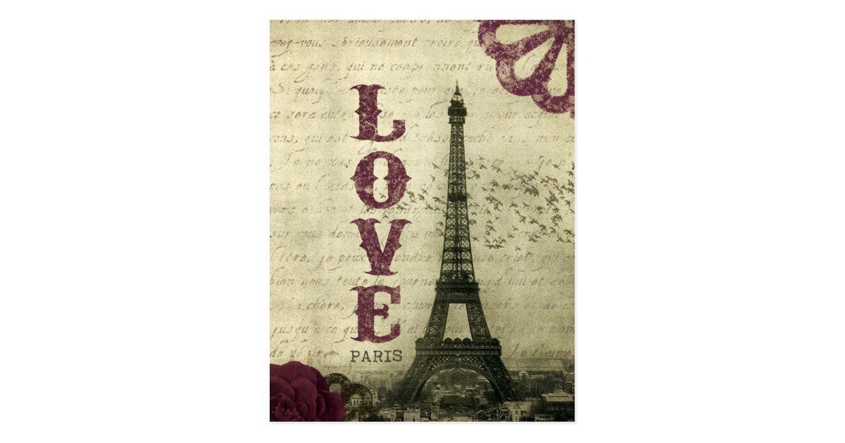 paris vintage carte postale zazzle. Black Bedroom Furniture Sets. Home Design Ideas