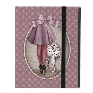 Parisienne et son dalmatien en promenade étui iPad
