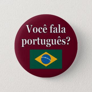 Parlez-vous portugais ? dans le Portugais. Drapeau Badge Rond 5 Cm
