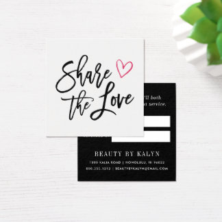 Partagez la référence de l'amour | carte de visite carré