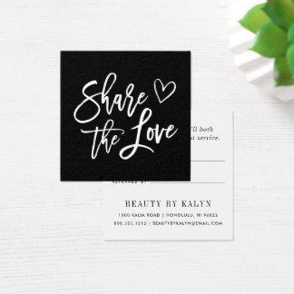 Partagez la référence noire et blanche de l'amour carte de visite carré