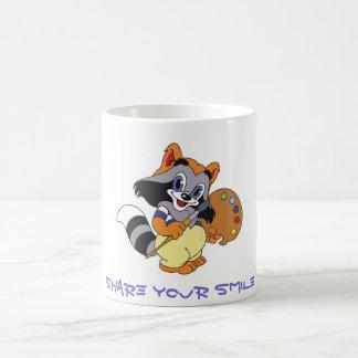 Partagez votre sourire (le raton laveur mignon de mug magique