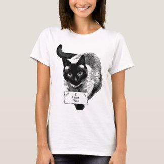 """Participation drôle de chat siamois, """"je t'aime"""" t-shirt"""