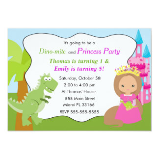 Partie 2 d'anniversaire de enfant de princesse carton d'invitation  12,7 cm x 17,78 cm