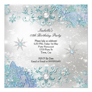 Partie argentée turquoise de flocons de neige du carton d'invitation  13,33 cm