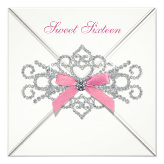 Partie blanche du bonbon 16 à rose de diamants carton d'invitation  13,33 cm