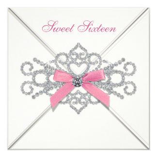 Partie blanche du bonbon 16 à rose de diamants carton d'invitation  13,33 cm