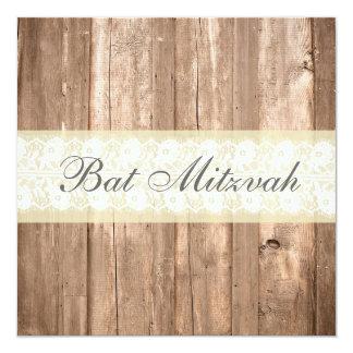 Partie crème rustique chic minable de bat mitzvah carton d'invitation  13,33 cm
