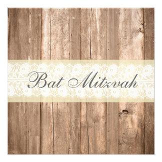Partie crème rustique chic minable de bat mitzvah invitations