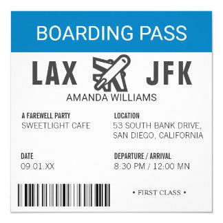 Partie d'adieu de carte d'embarquement d'avion carton d'invitation  13,33 cm