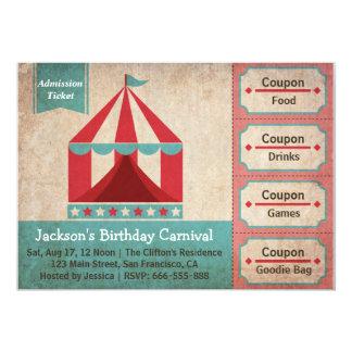 Partie d'anniversaire de enfant - billet carton d'invitation  12,7 cm x 17,78 cm
