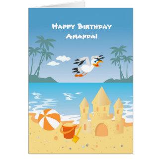 Partie d'anniversaire de enfant de château de carte de vœux