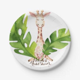 Partie de baby shower d'aquarelle de girafe de assiettes en papier