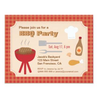 Partie de BBQ de jardin d'été, motif de plaid Carton D'invitation 10,79 Cm X 13,97 Cm