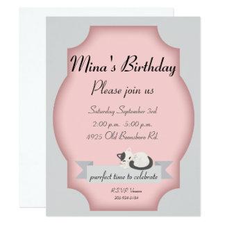 partie de chat carton d'invitation 10,79 cm x 13,97 cm