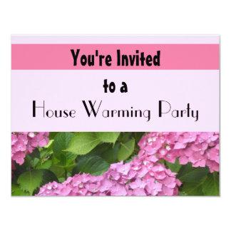 Partie de chauffage de Chambre rose d'hortensia Carton D'invitation 10,79 Cm X 13,97 Cm