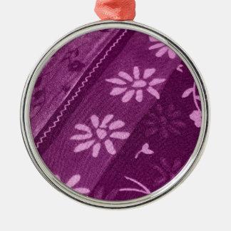 Partie de douche rose pourpre de vignes de fleurs ornement rond argenté