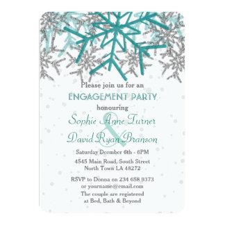 Partie de fiançailles argentée de flocon de neige carton d'invitation  11,43 cm x 15,87 cm