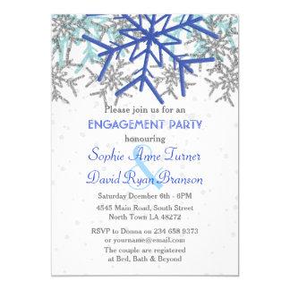 Partie de fiançailles argentée de flocon de neige carton d'invitation  12,7 cm x 17,78 cm
