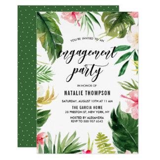 Partie de fiançailles florale tropicale de cadre carton d'invitation  12,7 cm x 17,78 cm