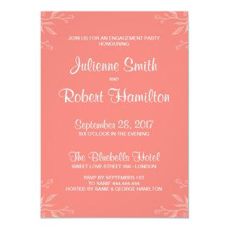 Partie de fiançailles rose de corail simple et carton d'invitation  12,7 cm x 17,78 cm