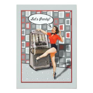 Partie de pin-up de coutume de fille de rétro carton d'invitation  12,7 cm x 17,78 cm