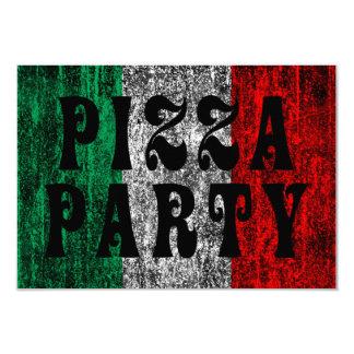 partie de pizza (drapeau italien) carton d'invitation 8,89 cm x 12,70 cm