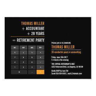 Partie de retraite de calculatrice de finances carton d'invitation  12,7 cm x 17,78 cm