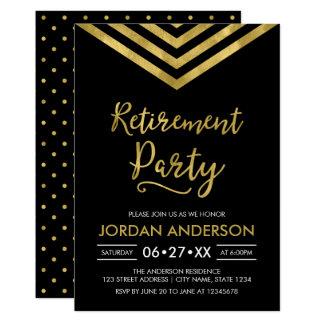 Partie de retraite noire moderne de Chevron d'or Carton D'invitation 12,7 Cm X 17,78 Cm