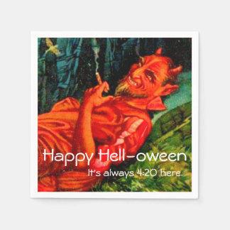 Partie de tabagisme vintage de Halloween de diable Serviettes En Papier