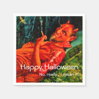 Partie de tabagisme vintage de Halloween de diable Serviettes Jetables