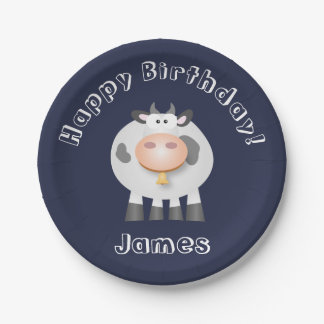 Partie drôle de joyeux anniversaire de vache assiettes en papier
