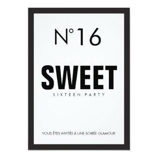 PARTIE du SWEET SIXTEEN noire et blanche 16 de Carton D'invitation 12,7 Cm X 17,78 Cm
