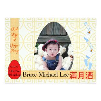 Partie d'un mois rouge de bébé d'oeufs et de carton d'invitation  12,7 cm x 17,78 cm
