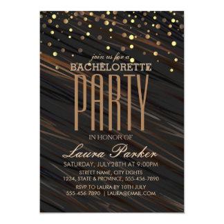 Partie élégante de Bachelorette d'étincelle d'or Carton D'invitation 12,7 Cm X 17,78 Cm