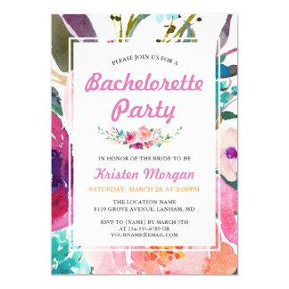 Partie florale de Bachelorette d'aquarelle rose Carton D'invitation 12,7 Cm X 17,78 Cm