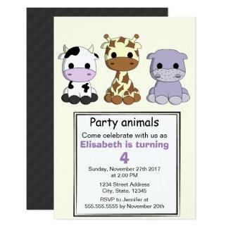 Partie mignonne d'anniversaire de enfant carton d'invitation 8,89 cm x 12,70 cm